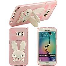 3D agradable Nuevo diseño de la forma del conejo lindo de la cubierta de silicona suave funda Cascara protectora case para Samsung Galaxy S6 edge(rosa)