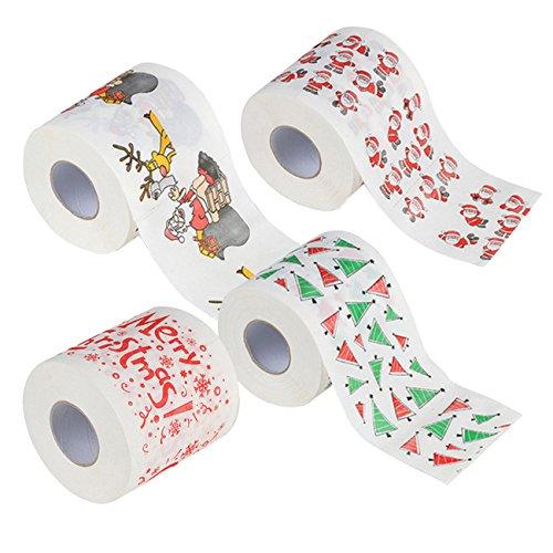 THEE 4 Stück Frohe Weihnachten Toilettenpapier WC-Papier Wohnzimmer Dekoration Weihnachtsmann WC-Rolle Papier Tissue