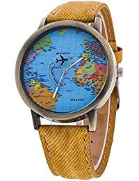 weant mujeres relojes banda de cuero analógico de cuarzo Lady reloj funda Traveler azul globo mapa del mundo Dial Retro reloj de pulsera para mujeres en venta