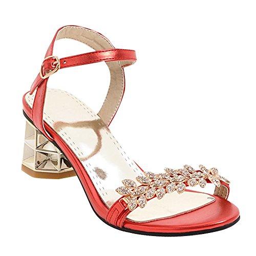 Mee Shoes Damen chunky heels Schnalle Strass Sandalen Rot
