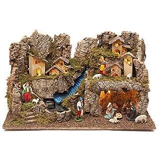 Holyart Portal de belén con Fuego, Luces, Cascada y Cueva 40x58x38, con estatuas