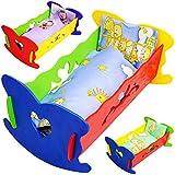 Unbekannt 1 Stück _ Holz - Puppenwiege / Puppenbett - mit Bettzeug - 37 cm -  Herzen  - buntes Naturholz - Decke & Kopfkissen - für Puppen - Wiege Kinderbett Bett BAB..