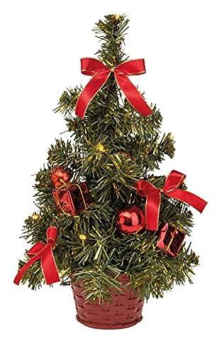 III 8582154 - Weihnachtsbaum mit 10 warm weißen LED und roter Deko, batteriebetrieben