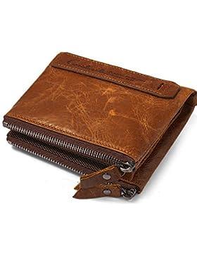 Billetera para hombre del zurriago genuino con tarjeta de crédito titular Zip Bifold cartera regalo en caja (marrón)