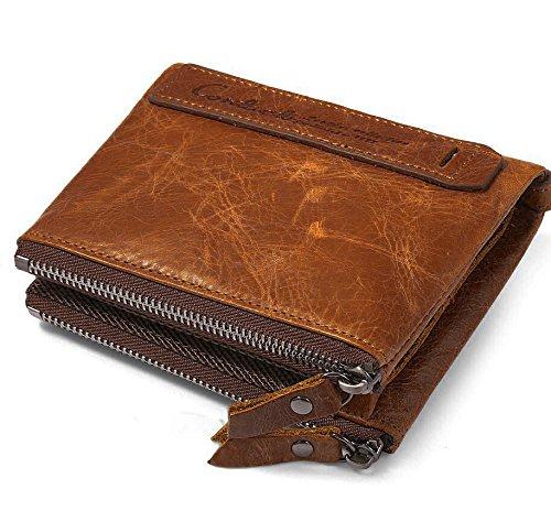 Herren Geldbörse Echtes Rindsleder Mit Kreditkarte Halter Bifold Vintage Zip Portemonnaie Geschenk Box(Braun) (Mit Brieftasche Reißverschluss)