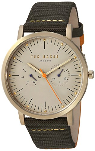 Ted Baker Men's 'BRIT' Quartz Stainless Steel and Leather Casual Watch, Color:Grey (Model: TE50274002)