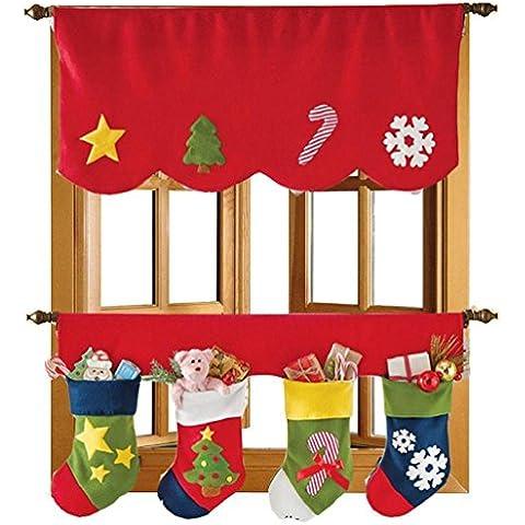 Sannysis Cortina de Navidad decorativa Calcetines de Navidad