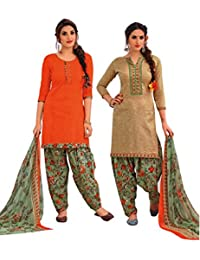 EasyToShop Retail Women's Cotton Printed Salwar Suits Unstiched Dress Materials (Combo Pack Of 2) _AMVRRR002_Cream...