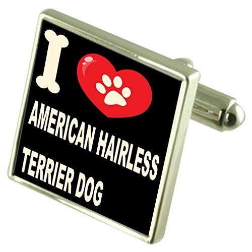 Select Gifts Ich liebe meinen Hund 925 Sterling Silber Manschettenknöpfe American Hairless Terrier -