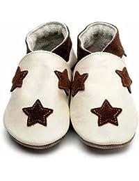 Inch Blue Gateo Zapatos de piel Star dom Cream/Chocolate