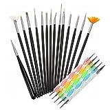 Ranvi pinceles de uñas, plumas de puntos marmoleo que detallan herramientas de pintura de rayas 20 unids kit - mejor para el arte de uñas y pintura detallada facial (negro)