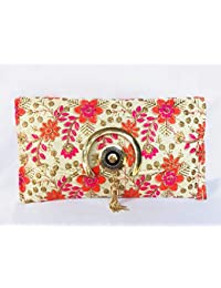 MHE Flower Printed Party Wear Hand Embroidered Multi Bag Clutch Bag Purse For Bridal, Casual, Party, Wedding