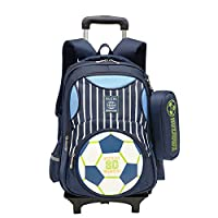Adanina Elementary Football Prints Trolley Backpack Children Soccer School Rolling Bag Primary Wheeled Book Bag with Pencil Case for Boys