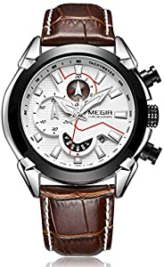 Megir Mens Quartz Watch, Chronograph Display and Leather Strap - 2065G