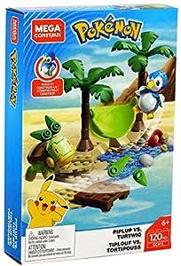 Mega Construx Pokémon Figuras Piplup Vs. Turtwig, Juguetes de Construcción Niños +6 Años (Mattel GCN13)