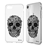 NALIA Handyhülle kompatibel mit iPhone 8/7, Ultra-Slim Silikon Hülle Motiv Case Cover Crystal Schutzhülle, Etui Handy-Tasche Backcover Transparent Bumper, Designs:Totenkopf