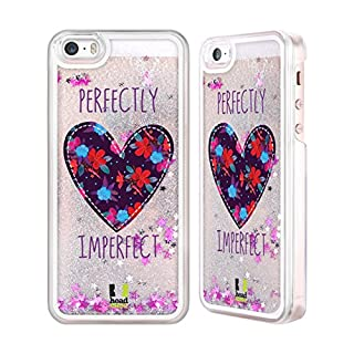 Head Case Designs Floral Heart Patches Silver Liquid Glitter Case Cover for Apple iPhone 5 / 5s / SE