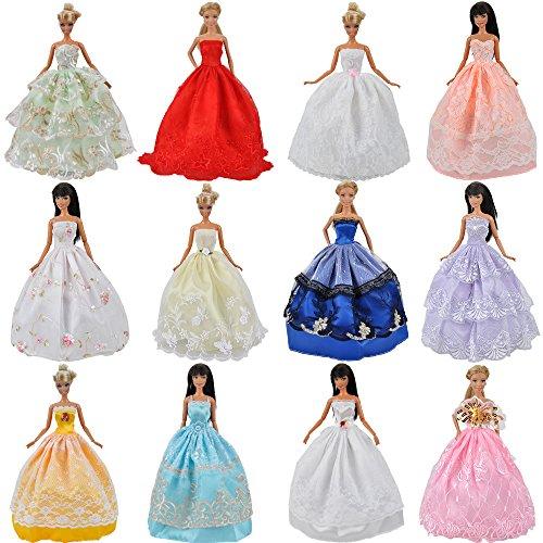 E-TING 5 Pcs Vestidos Hechos a Mano Ropa Crece Ropa para Muñeca Barbie