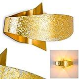 Design Wandleuchte Padua - Hochwertige Wand Lampe in Goldfarben mit Struktur-Lampenschirm - Wandleuchte Schlafzimmer aus Metall - Küchen Wandleuchte