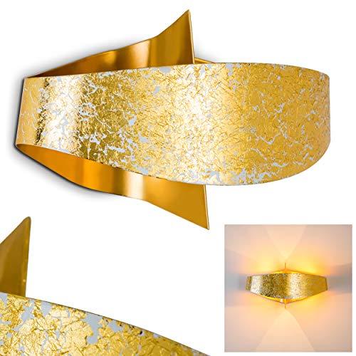 Wandlampe Padua aus Metall in Gold, moderne Wandleuchte mit Up & Down-Effekt, 2 x G9 max. 33 Watt, Innenwandleuchte mit Lichteffekt u. Blattgold-Effekt, geeignet für LED Leuchtmittel