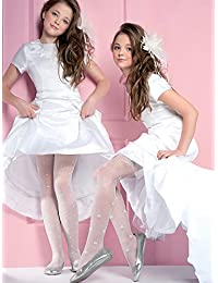 Las niñas blanco Beautiful Patterned medias 20 Denier Sara por Gabriella
