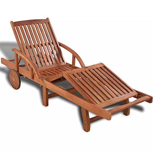 Festnight sedia lettino a sdraio in legno massello di acacia
