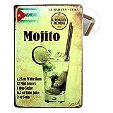 Grand Teint Plaque Métallique Vintage 20x30cm Poster En Métal Mural Plaque Décorative pour Cafe Bar Restaurant Pub, Série Bière (Mojito)