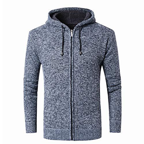 Lihua Herren Pullover Chunky Knit Pullover Funnel Neck Hergestellt aus 100% Baumwolle (Farbe : Blau, größe : L) Mens Funnel Neck Jacket
