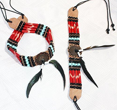 Indianer Sets Schmuck Kostüm (Indianer CHOKER SET Halsband und Armband ROT mit Mandallas 35/23/2,5 cm. plus Bänder Bone Hairpipes echte Knochenröhrchen Knochengürtel)