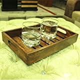Royal Decorative Wooden Tray Serving Tray With Handles Ottoman Tray Fruit Display Tray Breakfast Tray Platter Coffee Serving Tray Snack & Food Serving Tray 12x8 Inches Birthday Housewarming Gift Ideas