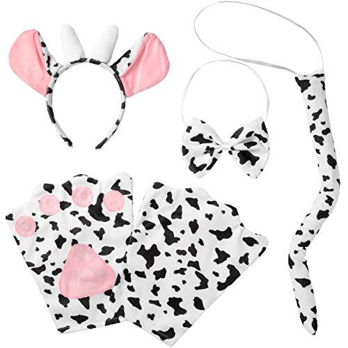 Hörner Kostüm Kuh - dressforfun 302052 - Kostüm Set Kuh für Erwachsene, Haarreif mit Ohren und Hörnern, Handschuhe, Fliege und Schwanz