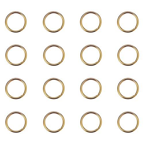 PandaHall Elite- 1 Sac/Environ 260pcs Laiton Anneau de jonction Anneau Ouvert Jump Ring Ferme mais Dessoude Dore 10x1mm