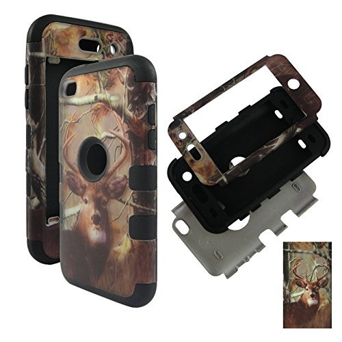 HYBRID 3in 1BK Camo Deer Kiefer Apple Touch 4, iPod Touch 44. Generation Tuff Combo Rugged Body Armor Defender Triple Layer stoßfest Fall Hard Phone Sony Tuff Combo Rugged Body Armor Defender Triple Layer stoßfest Case Cover Gummiert Touch Blenden