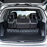 Ecbrt Car Boot Organiser, Car Trunk Organizers Car Seat Organiser Boot Tidy Organiser Heavy Duty Car Backseat Organiser with Waterproof Base Plate, 4 Pockets, 4 Adjustable Straps & Rear Magic Strip