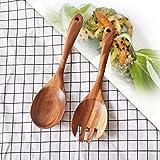 Legno, forchetta, cucchiaio, set da pezzi/set posate da insalata in legno, insalata, forchetta e cucchiaio, salsa da cucina zuppa forchette da viaggio retro Dinnerware Taglia libera Wooden Color