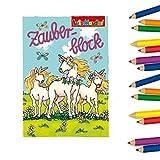 8X Zauberblöckchen Einhorn | Unicorn | Elfe | Fee | Zauberblock | Lutz Mauder | A8 |mit Partynelly Buntstiften