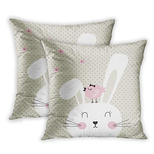 Nekkzi Cushion Covers Set of Two Print Face Cute Bunny Bird on Polka Dots Happy Easter Sofa Home Decorative Throw Pillow Cover 16x16 Inch Pillowcase Hidden Zipper