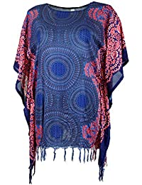 89113c89 Guru-Shop Poncho, Mandala Tunika, Boho Kaftan, Kurzarm Strandtunika, Damen,  Beige, Synthetisch, Size:One Size,…