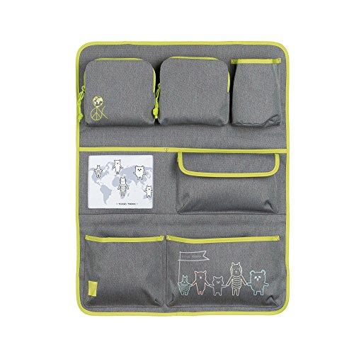 LÄSSIG Autoorganizer Kinder Autorücksitzorganizer Rücksitztasche für Auto oder Kinderzimmer zum Hängen zusammenklappbar / Car-Wrap-to-Go, About Friends, Grau
