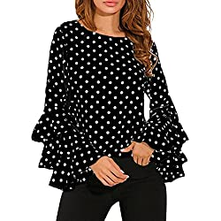 Lenfesh Casual de Mujer Solid Camisa Manga Larga Blusa Camisas con Volantes (Negro, XL)