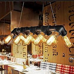 Glighone Lámpara Colgante Lámpara Antigua Luz Industrial Lámpara de Techo 60W*10 Interfaces Luz Vintage de Tubo Luz de Pantalla de Cuerdas Iluminación Decorativa No Incluye Bombillas, Color Negro