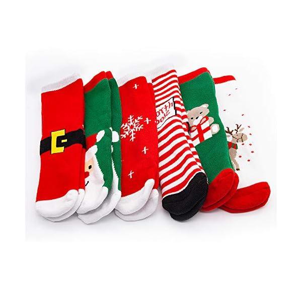 MMTX Navidad calcetín lindo de algodón Animal de dibujos animados reno de Santa Claus antideslizante Unisex 6 pares… 5
