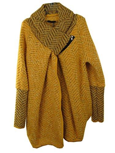GG Mesdames Femmes italienne Lagenlook Chenille Feel Quirky Wool Layer Zip Collar Cocoon Coatigan Veste Manteau Poncho Cape Oversize Mocha Marl