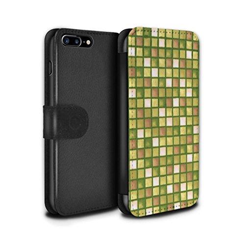 Stuff4 Coque/Etui/Housse Cuir PU Case/Cover pour Apple iPhone 7 Plus / Bleu/Vert Design / Carreau Bain Collection Or