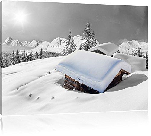 schöne verschneite Berghütten in den Alpen schwarz/weiß Format: 80x60 auf Leinwand, XXL riesige...