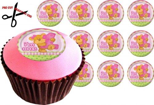 Kuchendekor für Cupcakes, zum 1. Geburtstag, für Mädchen, essbares Reispapier, vorgeschnitten, 38 mm, 12 (Cupcake Toppers Royal Icing Halloween)