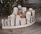 CHICCIE Holz Ast Teelichthalter - 1er Herz 27x18cm Vintage Tischdeko Kerzenhalter Landhausstil Natur Deko