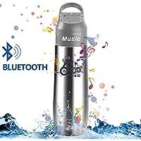 spardar 2en 1altavoz Bluetooth portátil al aire libre botella de agua 304de acero inoxidable aislado al vacío termo de agua altavoz integrado 1000mAh batería caliente/fría taza 750ml, Gris