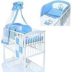 Lit bébé 120x60 en bois blanc evolutif + matelas + 9 pièces ensemble de linge chambre enfant Prince bleu