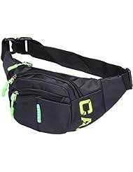 CaaCoo Cool Riñonera para 3 cremallera boca de viaje de senderismo al aire libre Sport Bum Bolsa de dinero de vacaciones paquete de bolsa de cadera (verde)